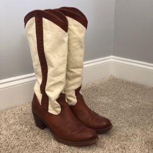 Frye Jane braid cowboy canvas and leather